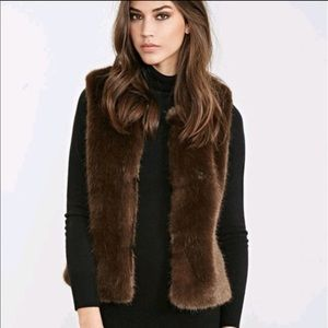 Faux fur brown vest size small